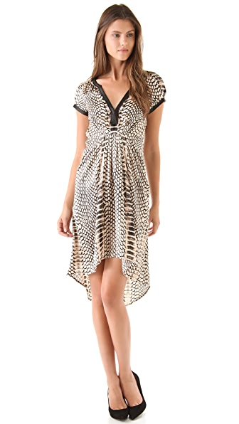 Twelfth St. by Cynthia Vincent Cap Sleeve Dress w Leather Trim