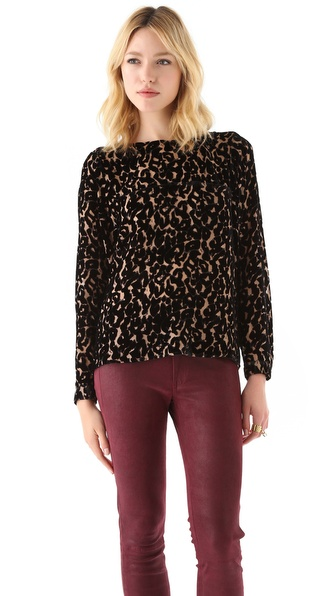Twelfth St. by Cynthia Vincent Burnout Velvet Leopard Blouse