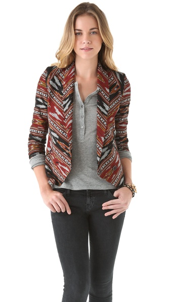 Twelfth St. by Cynthia Vincent Shawl Collar Ikat Blazer