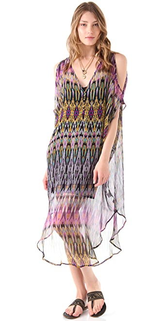 Twelfth St. by Cynthia Vincent Cold Shoulder Midi Caftan Dress