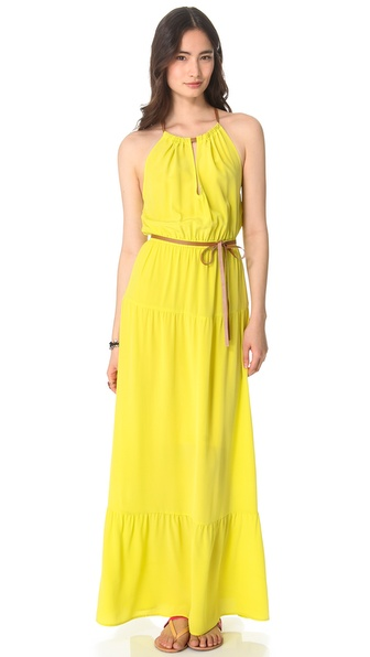 Twelfth St. by Cynthia Vincent Tiered Maxi Dress with Leather Tie