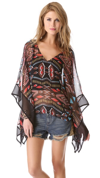 Twelfth St. by Cynthia Vincent Draped Caftan Blouse