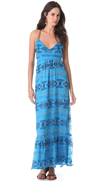 Twelfth St. by Cynthia Vincent Leather Strap Halter Maxi Dress