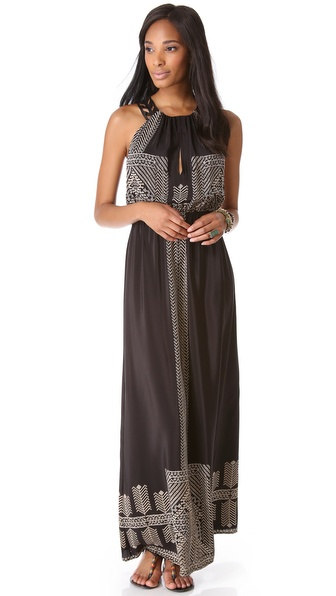 Twelfth St. by Cynthia Vincent Maxi Dress with Leather Racer Back