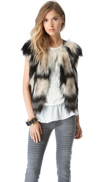 Twelfth St. by Cynthia Vincent Faux Fur Vest