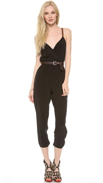 Twelfth St. by Cynthia Vincent Leather Strap Jumpsuit