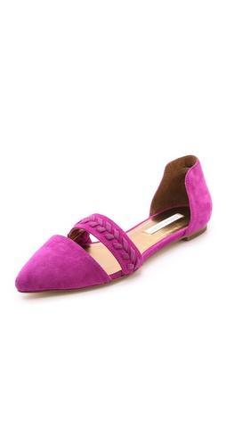 Kupi Twelfth St. by Cynthia Vincent cipele online i raspordaja za kupiti A woven strap lends a sweet, vintage feel to pointed-toe suede d'orsay flats. Rubber sole.  Leather: Kidskin. Imported, China. This item cannot be gift-boxed. - Fuchsia