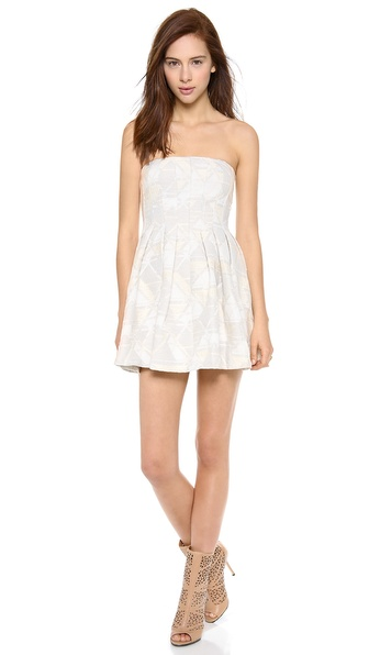 Twelfth St. by Cynthia Vincent Pleated Strapless Mini Dress