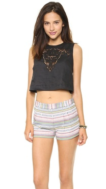 Twelfth St. by Cynthia Vincent Bull Embroidered Crop Top