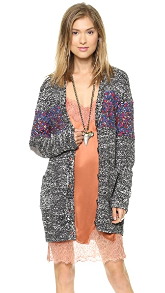 Twelfth St. by Cynthia Vincent Elbow Patch Oversized Cardigan