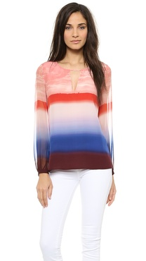 Twelfth St. by Cynthia Vincent Contrast Sleeve Blouse
