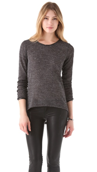 291 Long Sleeve Leather Trimmed Scoop Top