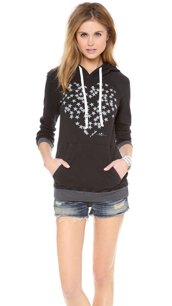 291 Star Filled Heart Pullover Hoodie
