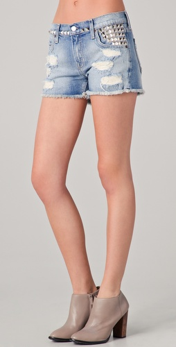 TEXTILE Elizabeth and James Studded Ruby Shorts