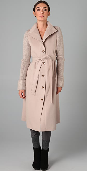 VIKTOR & ROLF Knit Sleeve Trench Coat