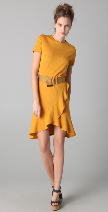 VIKTOR & ROLF Belted Dress with Ruffled Hem