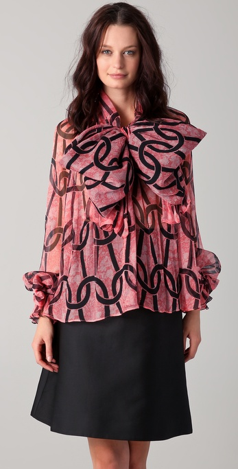 VIKTOR & ROLF Loop Print Neck Tie Blouse
