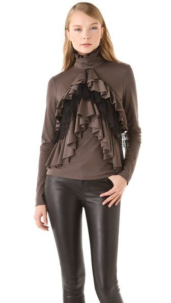 VIKTOR & ROLF Turtleneck Ruffle Blouse