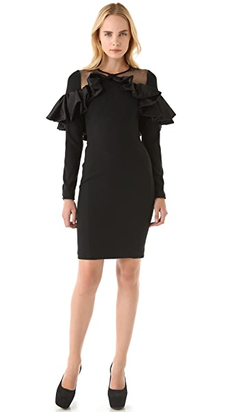VIKTOR & ROLF Sheer Shoulder Ruffle Trim Dress