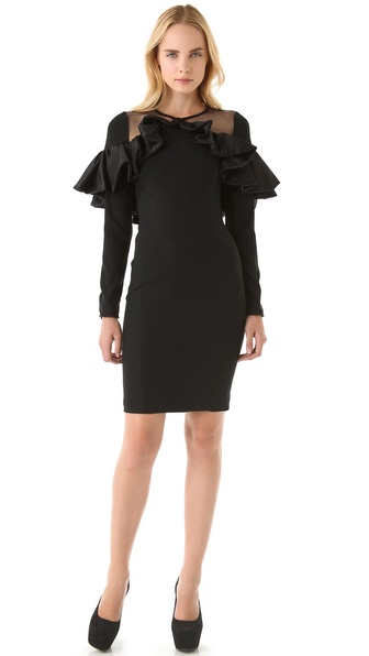 VIKTOR & ROLF Sheer Shoulder Ruffle Trim Dress