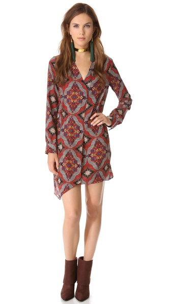 Veronica Beard Long Sleeve Printed Dress