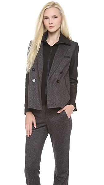 Veronica Beard Scuba Dickey Jacket with Leather Sleeves