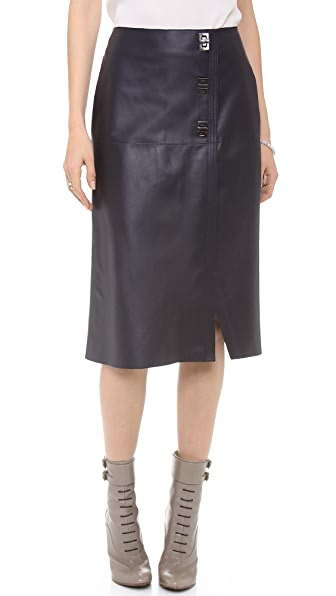 Veronica Beard The Leather Midi Skirt