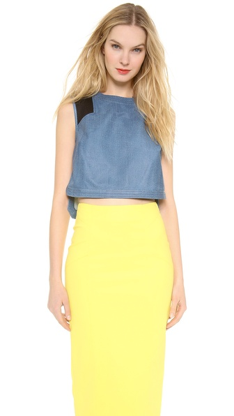 Veronica Beard Leather Crop Top - Denim at Shopbop