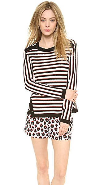 Veronica Beard Stripe Knit Long Sleeve Pullover