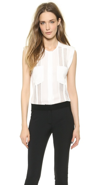 Veronica Beard Sleeveless Lace Inset Blouse