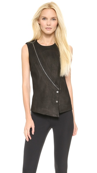 Veronica Beard Zip Leather Panel Top