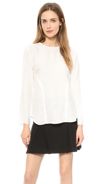 Veronica Beard Dot Silk Jacquard Seamed Long Sleeve Tee