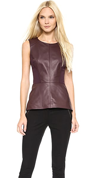 Veronica Beard Leather Laced Back Tank