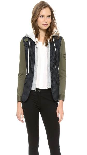 Veronica Beard Tweed Army Sleeve Jacket with Hoodie Dickey