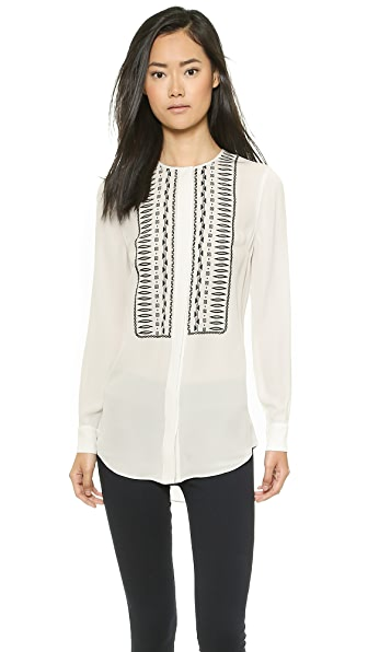 Veronica Beard Veronica Beard Embroidered Silk Shirt (White)