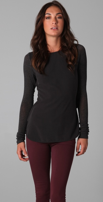 Victoria Beckham Two Tone Drape Top