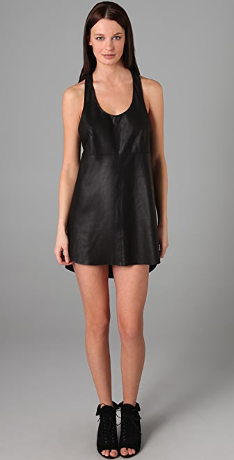 VEDA Love Razor Back Leather Dress