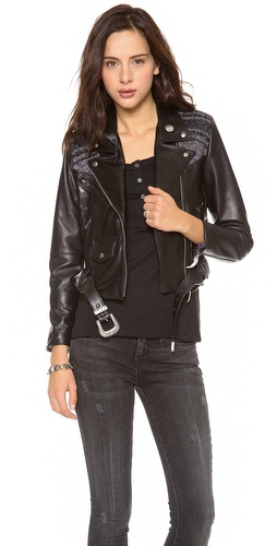 Shop VEDA online and buy VEDA Veda X Pamela Love Moto Jacket - This VEDA leather jacket is detailed with blanket-weave panels and tooled metal pulls by Pamela Love. Asymmetrical zip placket and 3 front pockets. Optional belt. Long sleeves and zippered cuffs. Lined.  Fabric: Leather. Shell: 100% leather. Trim: 80% acrylic/10% polyester/10% cotton. Lining: 100% polyester. leather clean. Made in the USA.  MEASUREMENTS Length: 18in / 46cm, from shoulder - Black