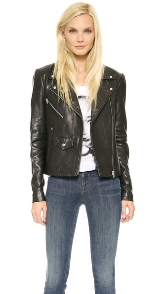 VEDA Lazer Classic Leather Jacket