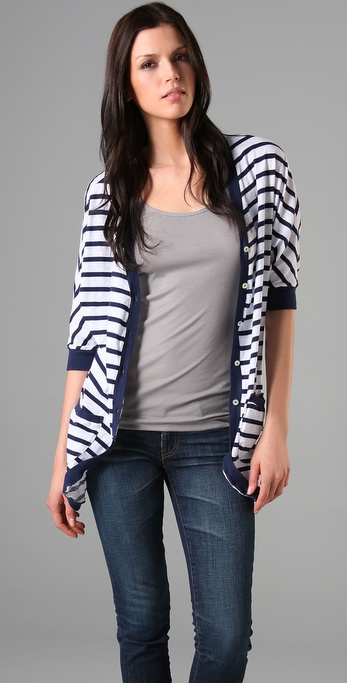 Velvet Maldives Stripe Jewel Cardigan