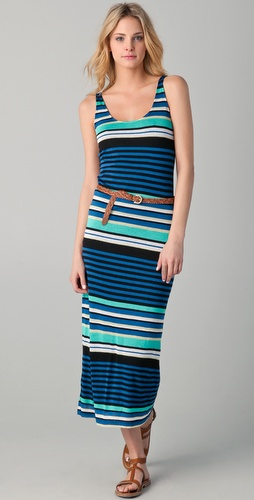 Velvet Challis Multi Stripe Maxi Dress