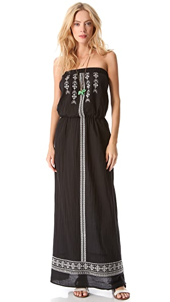 Velvet Embroidered Maxi Dress