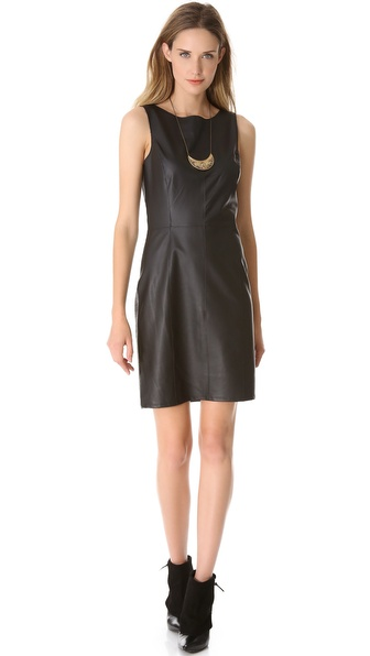 Velvet Majory Dress with Faux Leather Detail