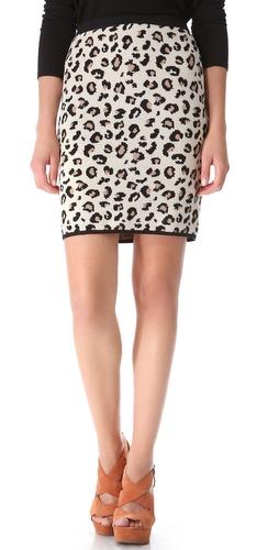 Velvet Belen Leopard Pencil Skirt