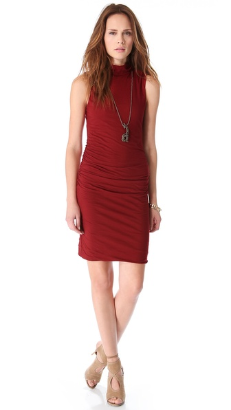 Velvet Alanna Ruched Turtleneck Dress