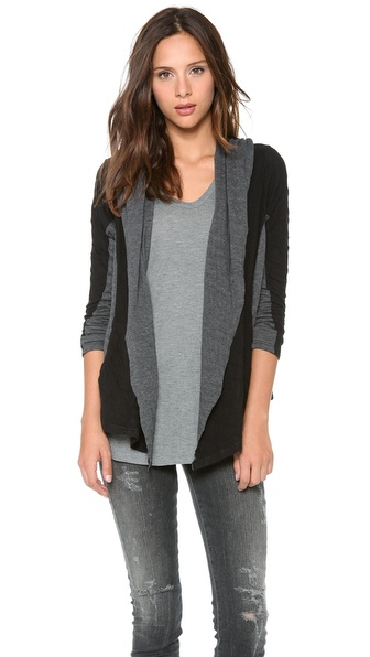 Velvet Dual Knit Hooded Cardigan
