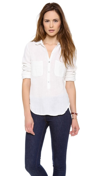 Velvet Winter Gauze Button Down Top