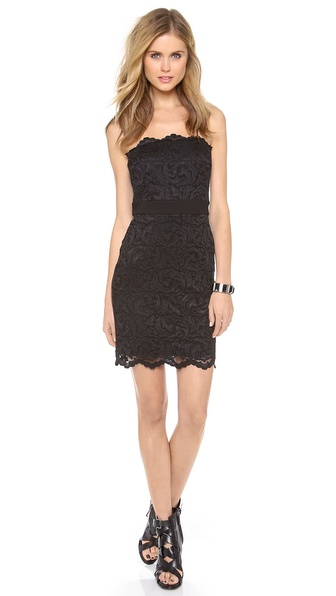 Velvet Strapless Stretch Lace Dress