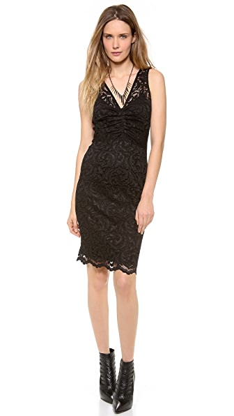 Velvet Stretch Lace Ruched Dress