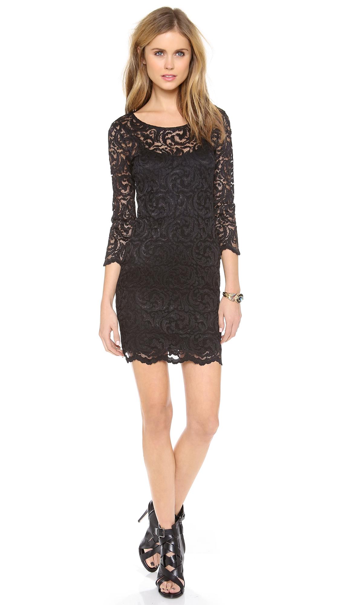 Velvet Long Sleeve Stretch Lace Dress